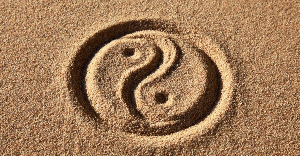Ying yang in the sand to denote wu wei